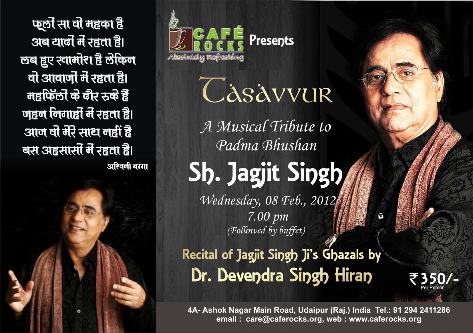 Tasavvur: A Musical Tribute to Jagjit Singh at Cafe Rocks
