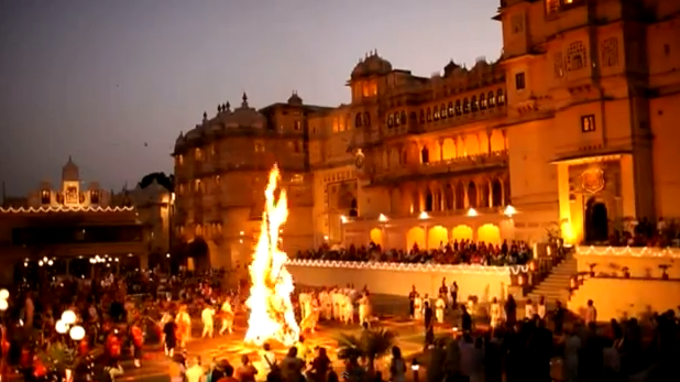 [Video] Holika Dahan Ceremony From The Royal Family of Mewar