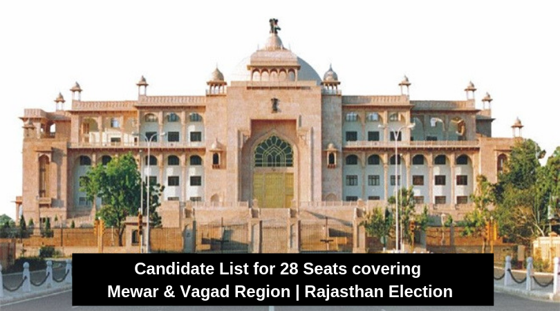 Candidate List for 28 Seats covering Mewar & Vagad Region | Rajasthan Election