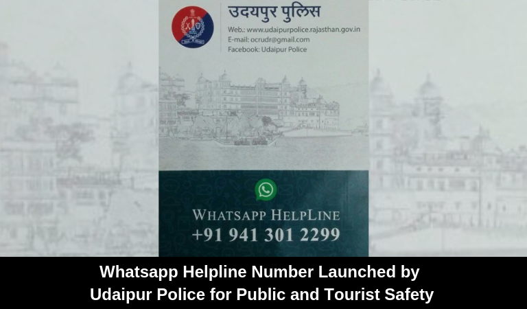 Whatsapp Helpline Number Launched by Udaipur Police for Public and Tourist Safety