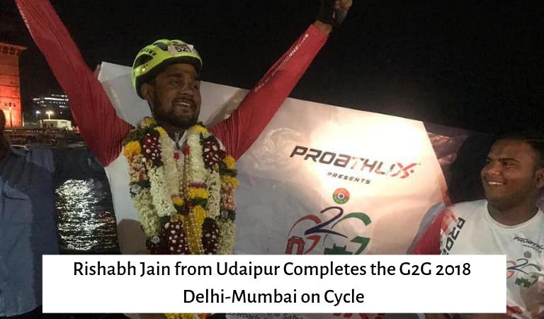 Rishabh Jain from Udaipur Completes the G2G 2018 Delhi-Mumbai on Cycle