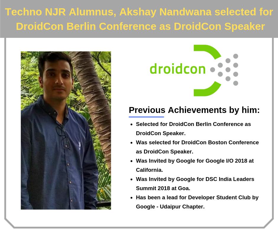 Techno NJR's Akshay Nandwana selected as Speaker for DroidCon Berlin Conference
