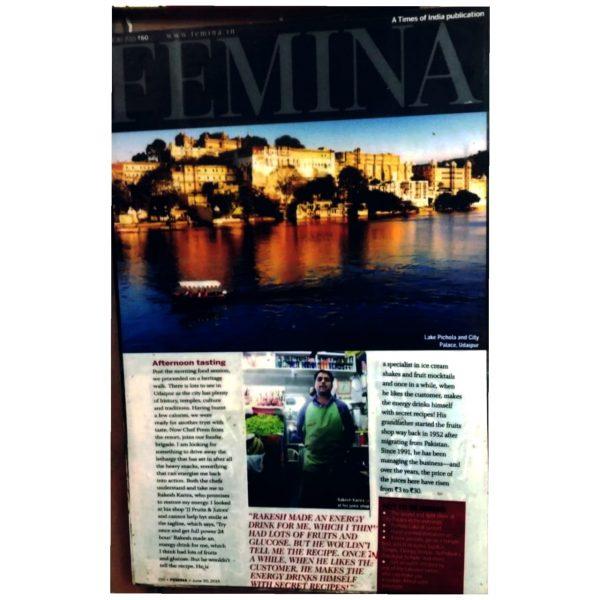 JJ Juice Corner in the famous Femina magazine.