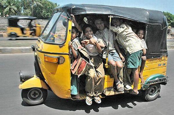 overloaded auto rickshaws