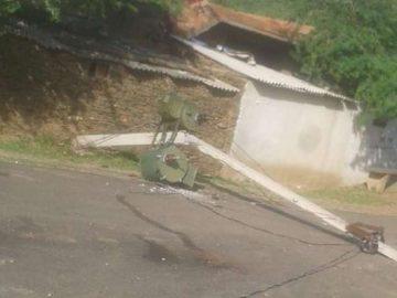 slashed power pole