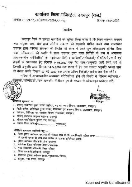 Udaipur Collector Order