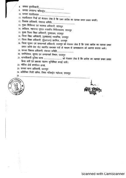 Lockdown Order Udaipur