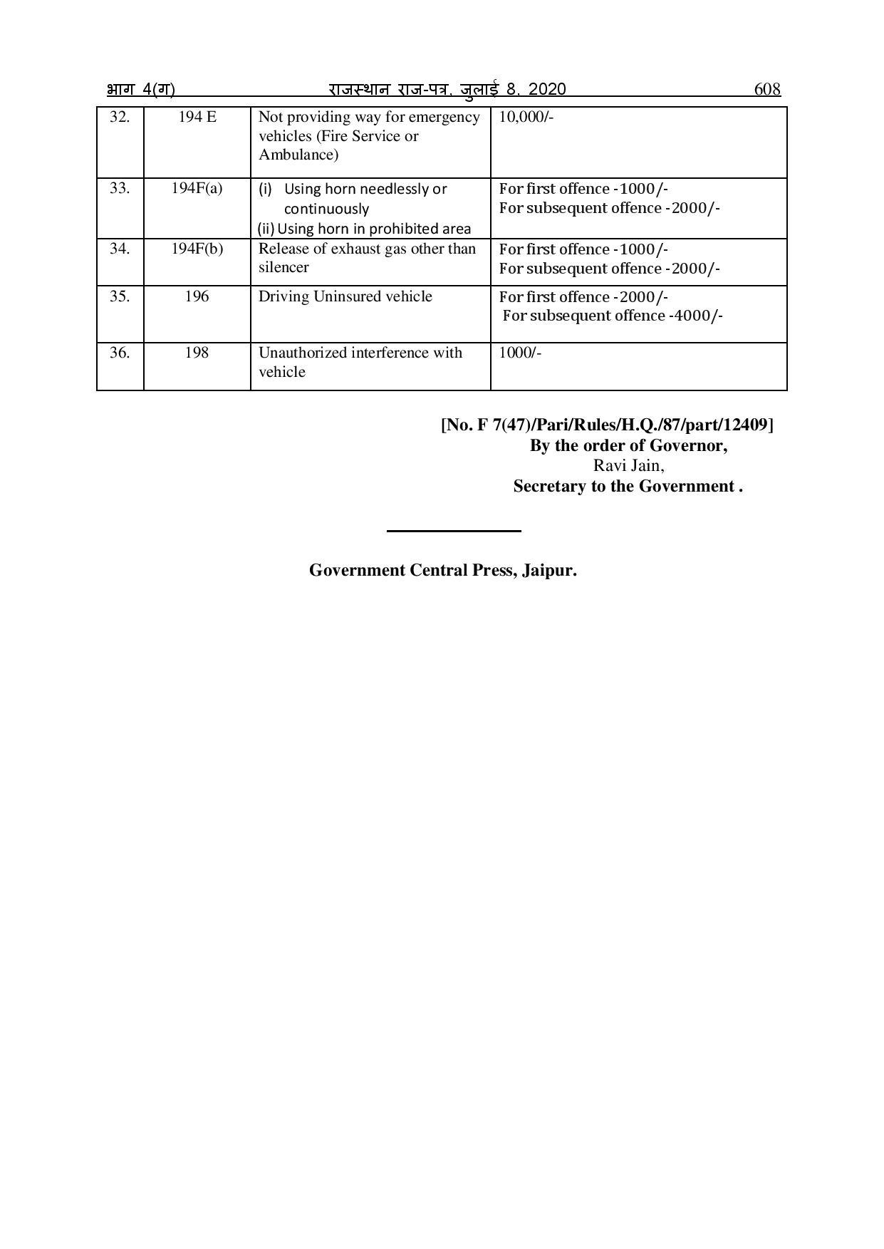 Revised Motor Act Rajasthan 5